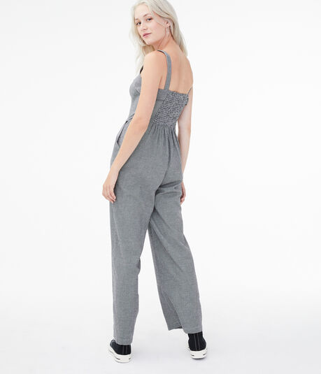Houndstooth Lace-Up Jumpsuit