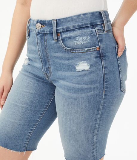 Premium Seriously Stretchy High-Rise Slim & Thick Curvy Denim Bermuda Shorts