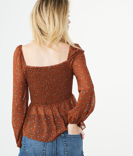 Long Sleeve Floral Smocked Top