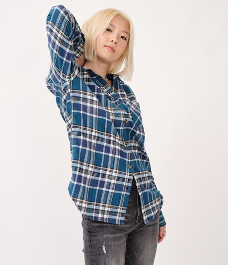 Long Sleeve Plaid Button-Down Shirt