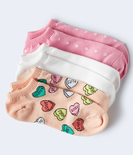 3-Pack Heart & Solid Ankle Socks