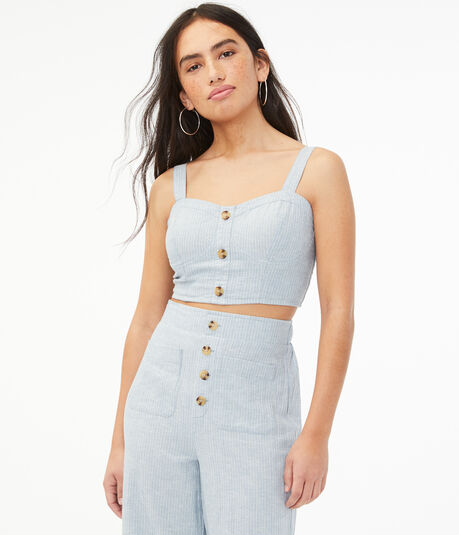 Striped Button-Front Crop Top
