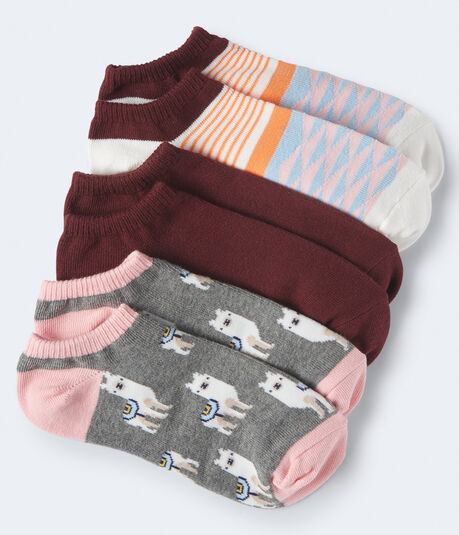 3-Pack Llama, Triangle & Solid Ankle Socks
