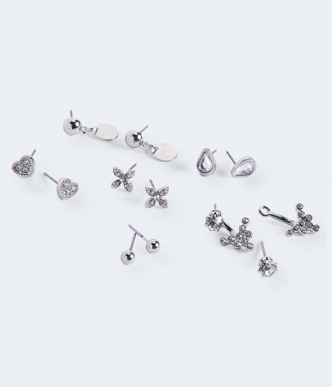 Heart Stud & Ear Jacket Earring 6-Pack