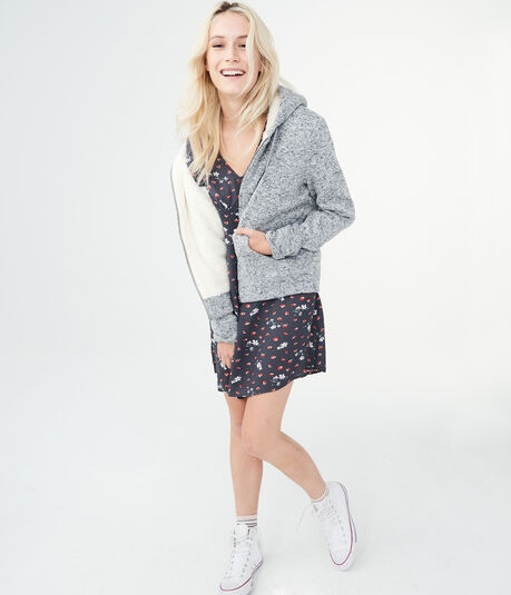 Marled Fleece-Lined Full-Zip Hoodie