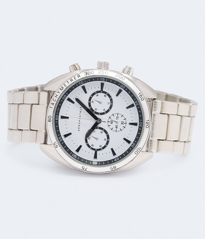Chrono Brushed Metal Analog Watch***