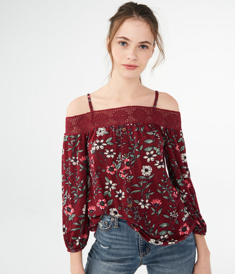 Printed Cold-Shoulder Peasant Top