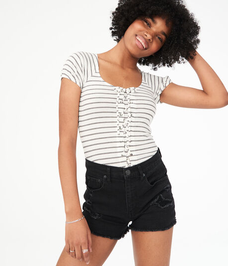 Striped Lace-Up Bodycon Top