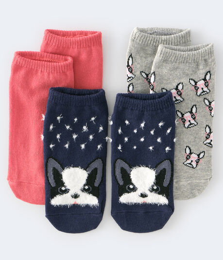 Fuzzy Dog Ankle Sock 3-Pack
