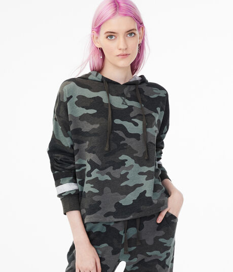 Camo Sleeve Stripe Pullover Hoodie