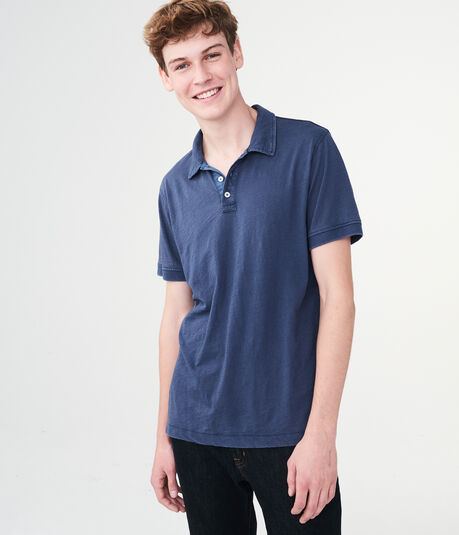 Solid Washed Slub Jersey Polo