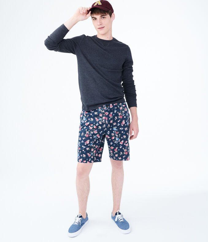 Floral Print Stretch Flat-Front Chino Shorts