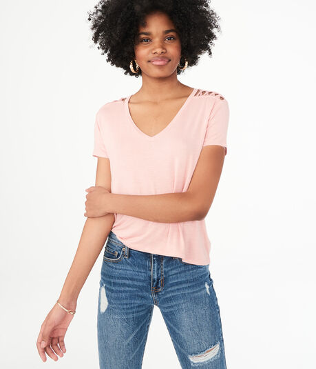 Seriously Soft Strappy-Shoulder V-Neck Tee***