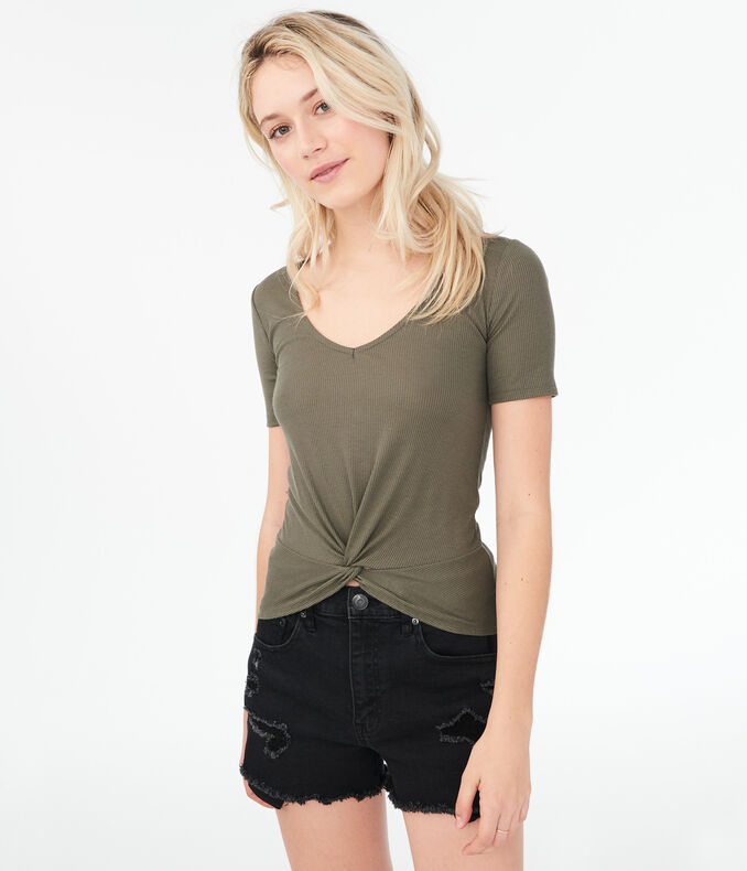 Seriously Soft Ribbed Twist-Front Top***