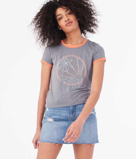 Seriously Soft Palm Tree Graphic Girl Tee