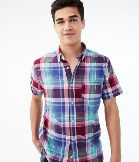 Bold Plaid Button-Down Shirt