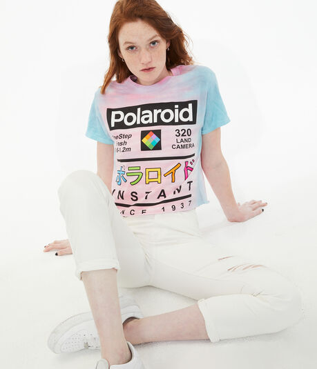 Japanese Polaroid Tie-Dye Cropped Graphic Tee