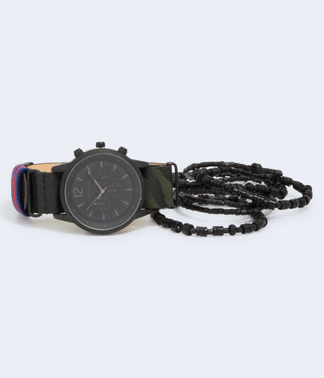 Tonal Camo Fabric Watch & Bracelet Set