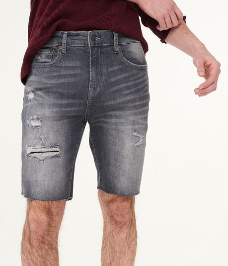 Slim Distressed Stretch Denim Shorts***
