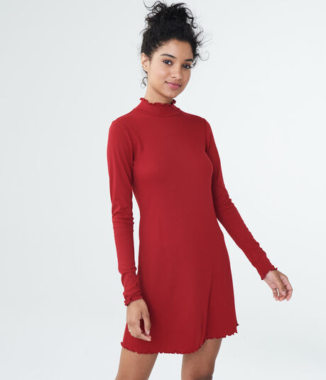 Solid Mock-Neck Swing Dress***