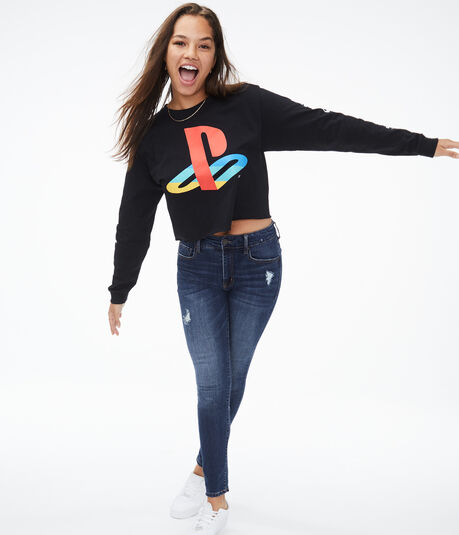 Long Sleeve Playstation Cropped Graphic Tee