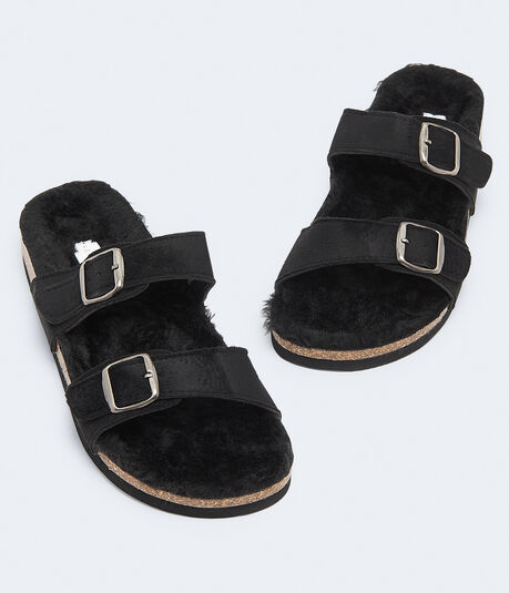 Faux Fur Double-Strap Slide Sandal