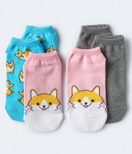 3-Pack Corgi & Solid Ankle Socks