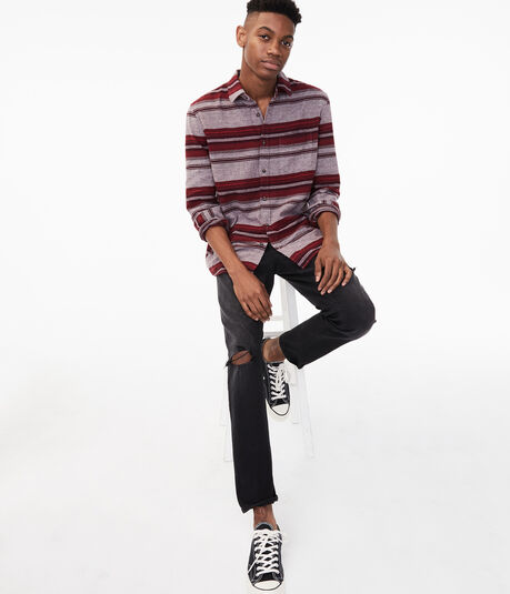 Long Sleeve Striped Flannel Button-Down Shirt