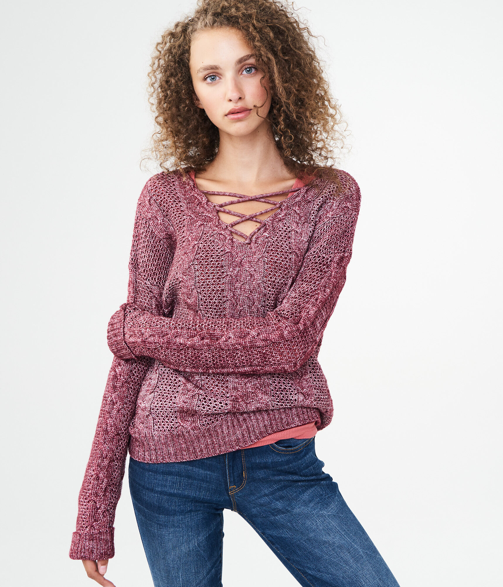 Cable Lace-Up Sweater c4ab55f73