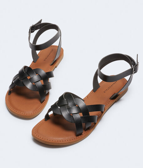 Braided Faux Leather Sandal