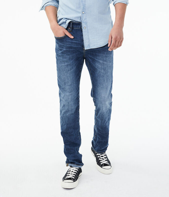 Slim Straight Vintage Medium Wash Stretch Jean