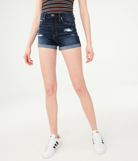 Super High-Rise Destroyed Denim Midi Shorts