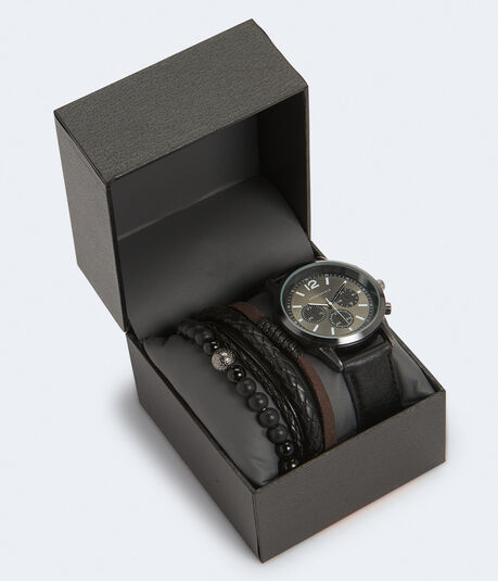 Chrono Faux Leather Watch & Bracelet Set