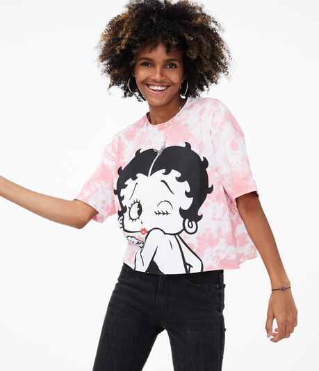 Betty Boop Tie-Dye Cropped Graphic Tee***