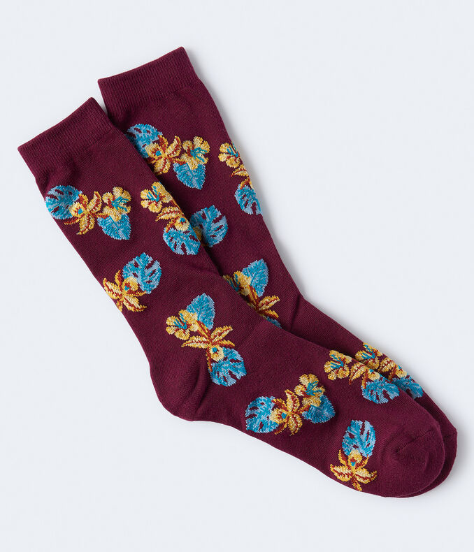 Tropical Flower Crew Socks***