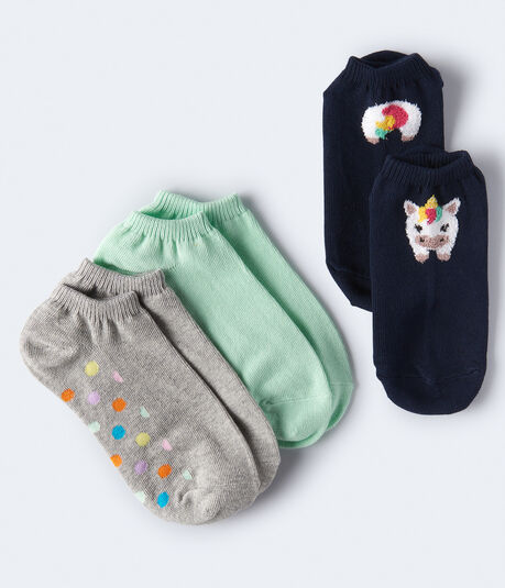 Fuzzy Unicorn Ankle Sock 3-Pack