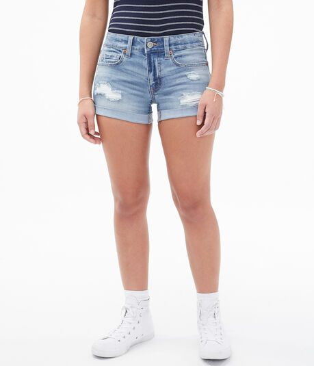 Premium Seriously Stretchy Low-Rise Denim Shorty Shorts