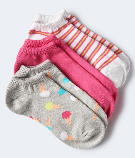 3-Pack Ice Cream Cone, Striped & Solid Ankle Socks