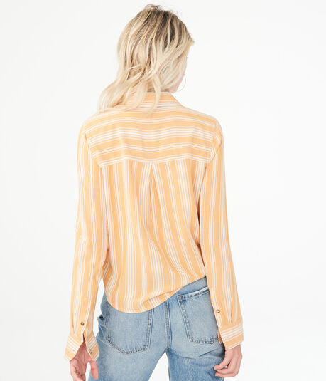 Long Sleeve Striped Tie-Front Button-Down Shirt