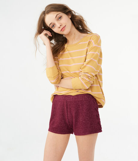LLD Solid Fuzzy Lace-Up Shorts