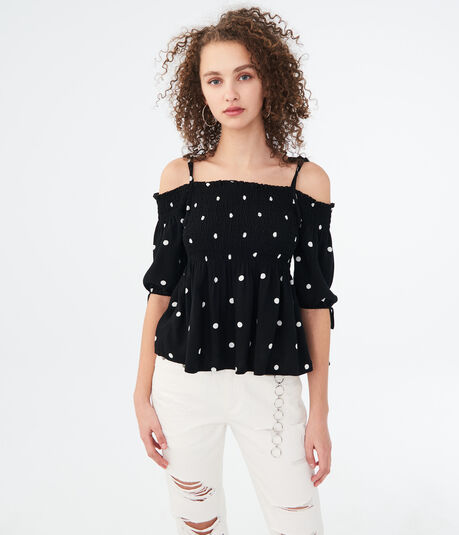 Printed Smocked Cold-Shoulder Top