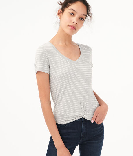 Striped Twist-Front V-Neck Tee***
