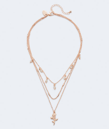 Rose Charm Triple-Strand Necklace