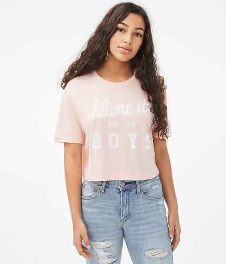 Blame It On The Boys Boxy Cropped Graphic Tee
