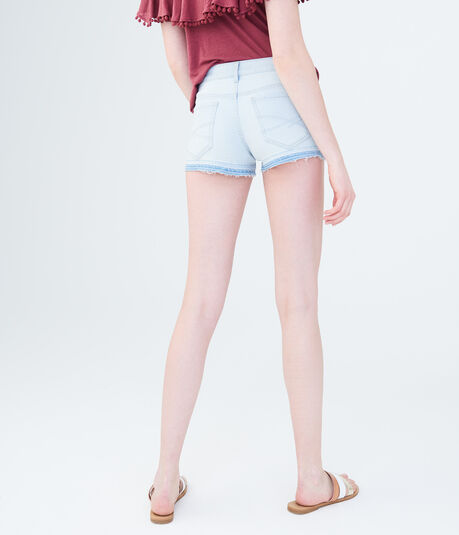 Seriously Stretchy Light Wash Destroyed Denim Shorty Shorts
