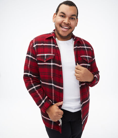 Long Sleeve Plaid Sherpa Button-Down Shirt
