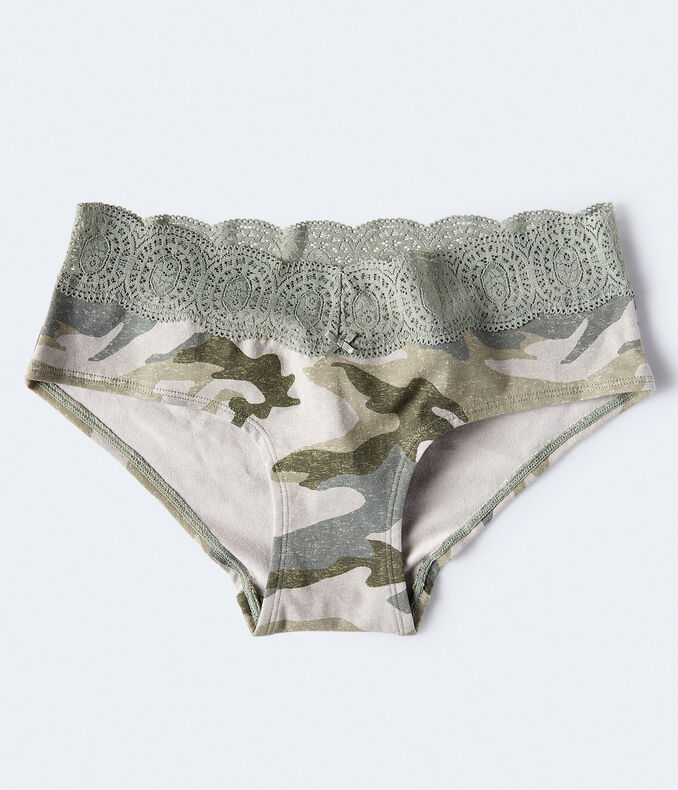 Camo Lace-Trim Hipster