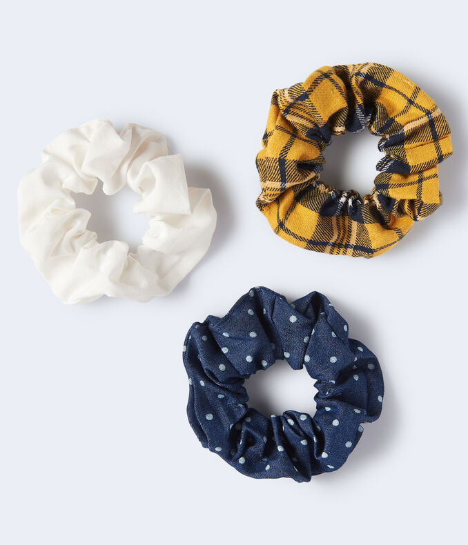 Denim Dot Scrunchie 3-Pack