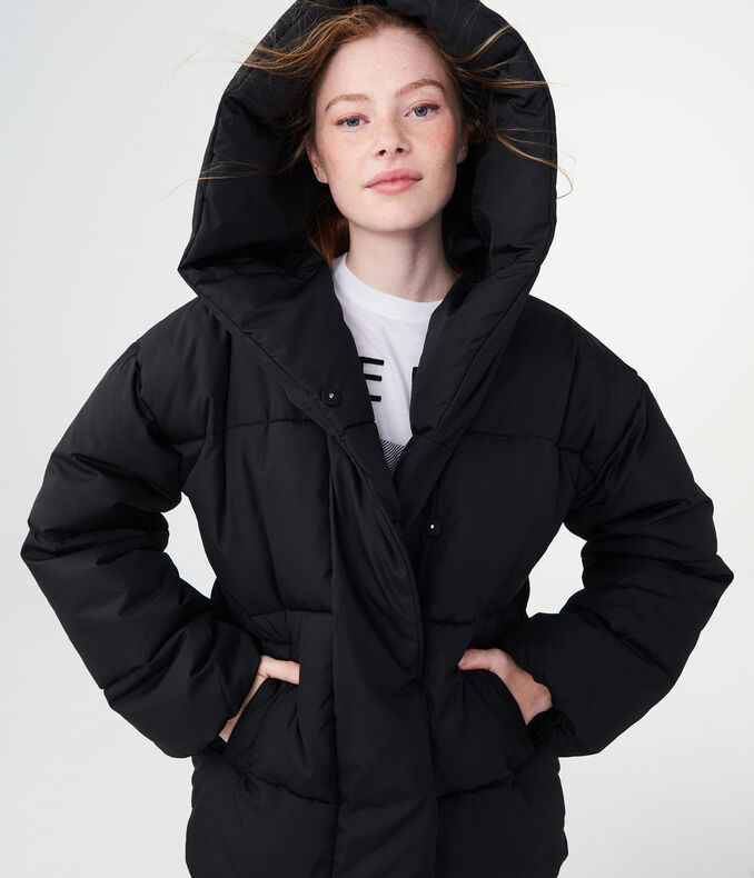 Solid Oversized Puffer Jacket
