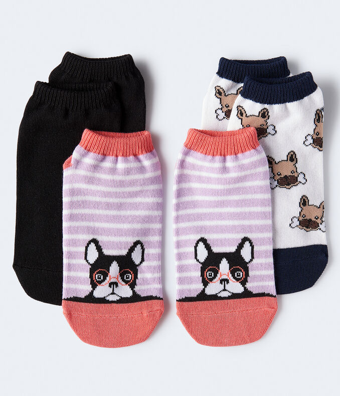 Striped Frenchie Ankle Sock 3-Pack